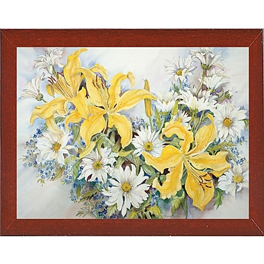 August Grove 'Yellow Lilies-Forget Me Nots-Daisy's' Print; Red Mahogany Wood Medium Framed Paper