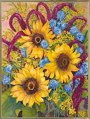 August Grove 'Sunflowers And Thistles' Print; Gold Metal Framed