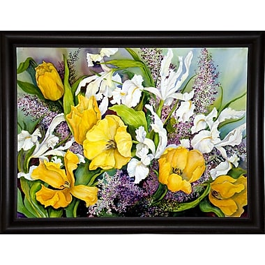 Alcott Hill 'Yellow Tulips, White Iris And Heather' Print; Bistro Expresso Framed Paper