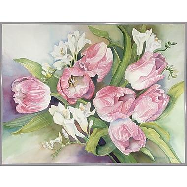 Alcott Hill 'Tulips' Print; White Metal Framed