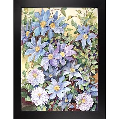 Charlton Home 'Blue Clematis' Print; Black Wood Large Framed Paper