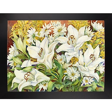 Charlton Home 'Lilies and Daisies' Print; Black Wood Large Framed Paper