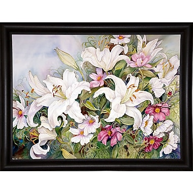 Charlton Home 'White Lilies And Mixed Colored Cosmos' Print; Bistro Expresso Framed Paper