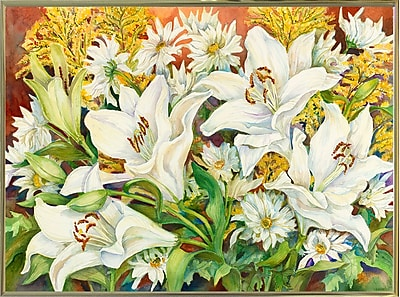Charlton Home 'Lilies and Daisies' Print; Gold Metal Framed