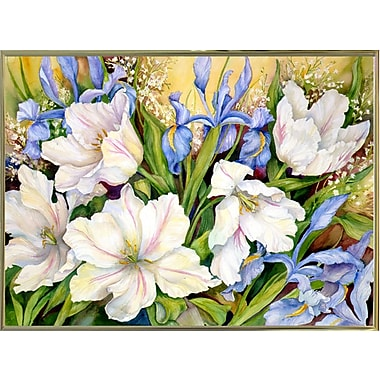 Charlton Home 'White Tulips/ Blue Iris' Print; Gold Metal Framed