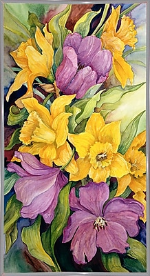 Charlton Home 'Tulips And Daffodils' Print; White Metal Framed Paper