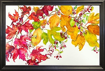 August Grove 'Fall Color' Print; Black Wood Grande Framed Paper