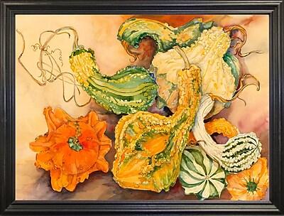 August Grove 'Fall Gourds' Print; Black Wood Grande Framed Paper