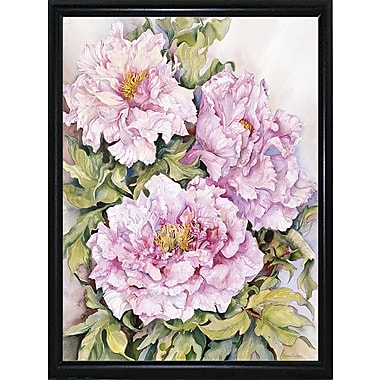 August Grove 'Peonies 2' Print; Black Metal Flat Framed Paper