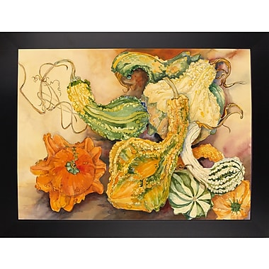 August Grove 'Fall Gourds' Print; Black Wood Large Framed Paper