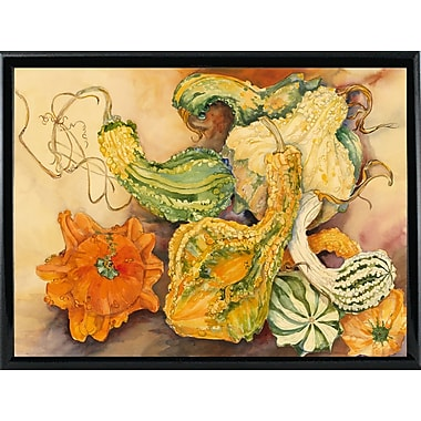 August Grove 'Fall Gourds' Print; Shiny Black Metal Framed