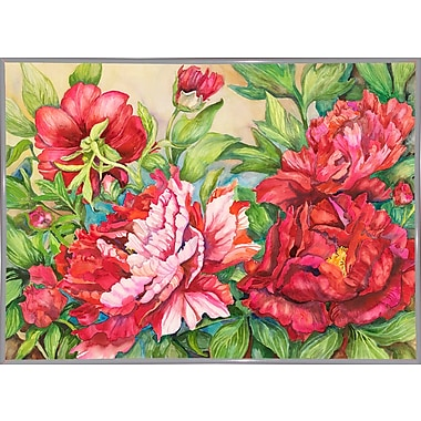 August Grove 'Peonies' Rectangle Frame Print; White Metal Framed