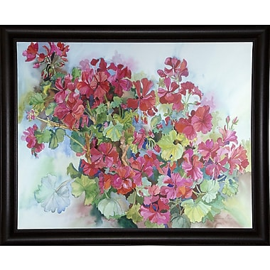 Charlton Home 'Geraniums Reaching For The Sky' Framed Print; Rolled Canvas