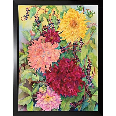 August Grove 'Dahlias And Wild Berries' Print; Rolled Canvas
