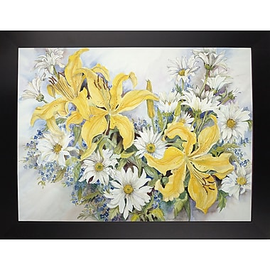 August Grove 'Yellow Lilies-Forget Me Nots-Daisy's' Print; Black Wood Large Framed Paper