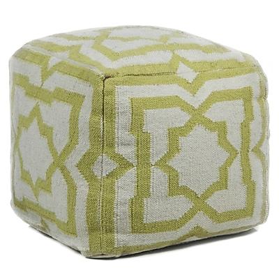 Bungalow Rose Muriel Textured Contemporary Ottoman; Cream/Green