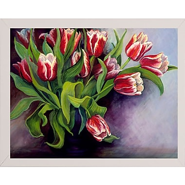 Charlton Home 'White Tipped Red Tulips' Print; White Wood Medium Framed Paper