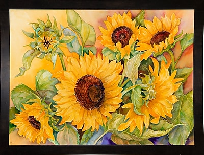 August Grove 'A Cutting of Sunflowers' Graphic Art Print; Black Wood Medium Framed Paper