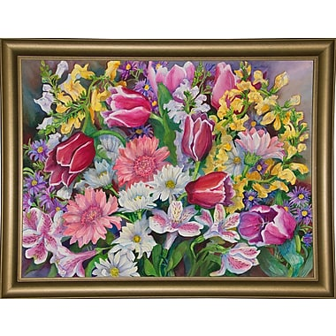 August Grove 'Tulips' Rectangle Frame Print; Bistro Gold Framed Paper