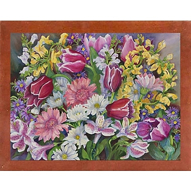 August Grove 'Tulips' Rectangle Frame Print; Canadian Walnut Wood Medium Framed Paper