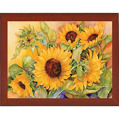 August Grove 'A Cutting of Sunflowers' Graphic Art Print; Red Mahogany Wood Medium Framed Paper