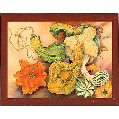 August Grove 'Fall Gourds' Print; Red Mahogany Wood Medium Framed Paper