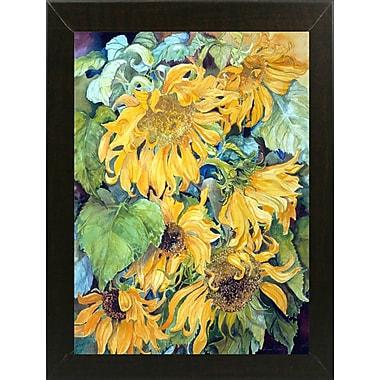 August Grove 'Cascading Sunflowers' Print; Brazilian Walnut Wood Medium Framed Paper