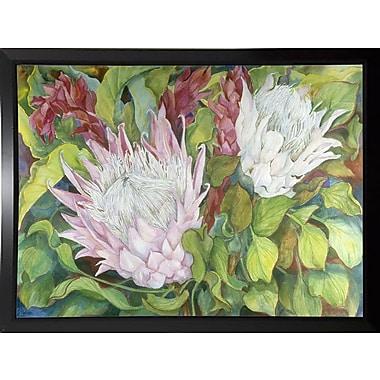 Bloomsbury Market 'Protea And Red Ginger' Print; Black Plastic Framed Paper