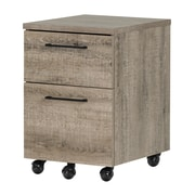 South Shore Munich 2-Drawer Mobile File Cabinet, Weathered Oak (10551)