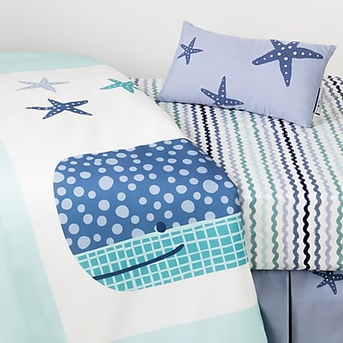 South Shore DreamIt Blue Little Whale 3-Piece Baby Crib Bed Set and Pillow (100104)