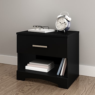 South Shore Gramercy 1-Drawer Nightstand, Pure Black (10449)