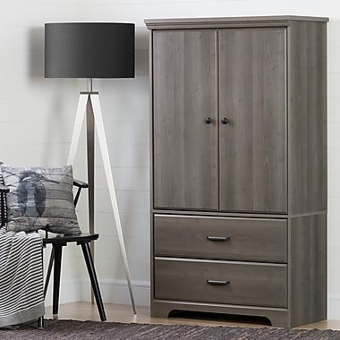 South Shore Versa 2-Door Armoire with Drawers, Grey Maple (10604)