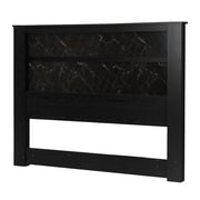 """South Shore Gloria King Headboard 78"""" with Lights, Black Oak and Black Marble (10122)"""