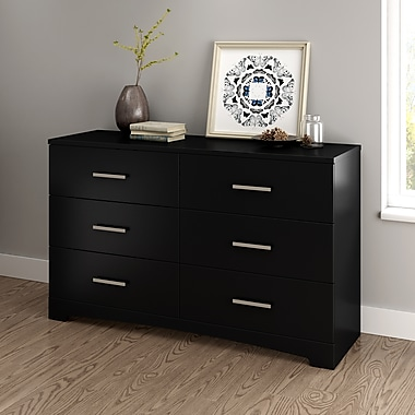 South Shore - Double commode 6 tiroirs Gramercy, noir pur (10447)
