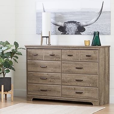 South Shore Versa 8-Drawer Double Dresser, Weathered Oak (10609)