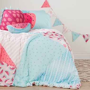 South Shore DreamIt Pink and Turquoise Watermelons and Dots Twin Comforter Set, Throw Pillows and Pennant Banner (100182)