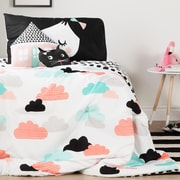 South Shore DreamIt Black and White Night Garden Twin Comforter Set & Throw Pillows (100186)