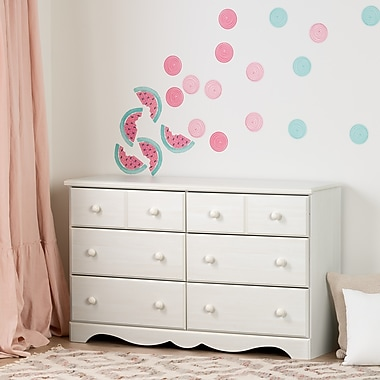 South Shore Summer Breeze Pure White and Pink 6-Drawer Double Dresser with Watermelons and Dots Wall Decals (100181)