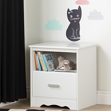 South Shore Tiara Pure White and Black 1-Drawer Nightstand with Night Garden Little Cat Wall Decals (100185)