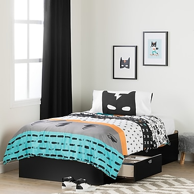South Shore Spark Pure Black and White Twin Mates Bed with Superheroes Comforter and Pillowcase (100187)