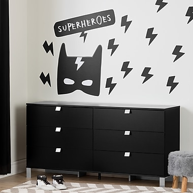 South Shore Spark Pure Black 6-Drawer Double Dresser with Superheroes Wall Decals (100188)