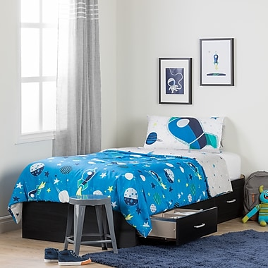 South Shore Cosmos Black Onyx and Blue Twin Mates Bed with Cosmic Comforter and Pillowcase (100190)