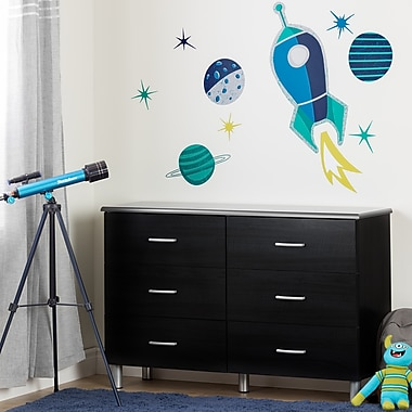South Shore Cosmos Black Onyx and Turquoise 6-Drawer Double Dresser with Cosmic Wall Decals (100192)