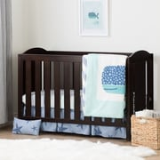 South Shore Angel Espresso and Blue Crib with Toddler Rail and Little Whale 4-Piece Bed Set  (100194)