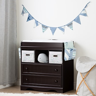 South Shore Savannah Espresso and Blue Changing Table with Little Whale Runner and Pennant Banner (100195)
