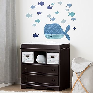 South Shore Savannah Espresso and Blue Changing Table with Little Whale Wall Decals (100196)