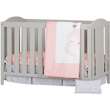 South Shore Angel Soft Grey and Pink Crib with Toddler Rail and Doudou the rabbit 4-Piece Bed Set (100269)
