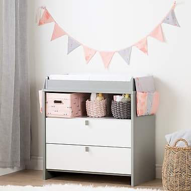 South Shore Cookie Soft Grey and Pink Changing Table with Doudou the rabbit Runner and Pennant Banner (100270)