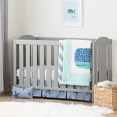 South Shore Angel Soft Grey and Blue Crib with Toddler Rail and Little Whale 4-Piece Bed Set (100271)