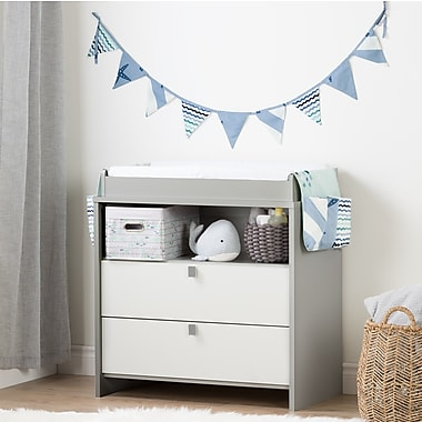 South Shore Cookie Soft Grey and Blue Changing Table with Little Whale Runner and Pennant Banner (100272)
